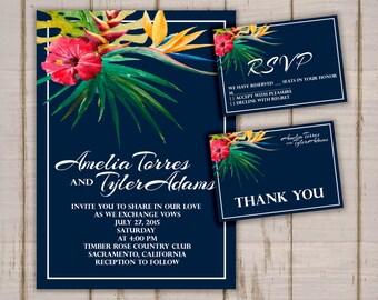 Hibiscus: Wedding Invitation Suite;     Print at Home Wedding Invitations
