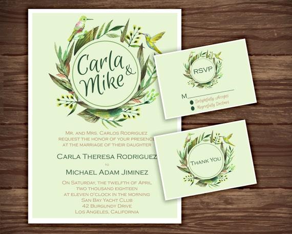 Hummingbird Wedding Invitations: Items Similar To Hummingbird: Wedding Invitation Suite