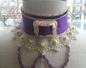Lace, Amethyst and Mother of Pearl Choker