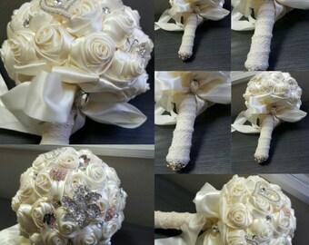 Handmade Ivory Satin Wedding Bouquets