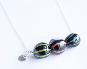 Tagua necklace Batik and Silver 925 sterling silver chain