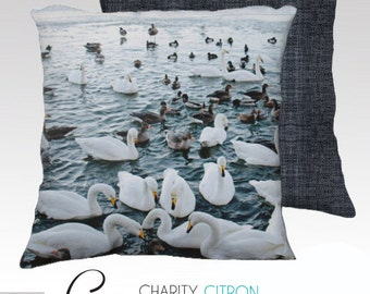 Swan Ombre Pillow Cover, Canvas, Throw Pillow, 18x18, Scandinavian