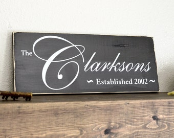 Custom Family Name Sign on Distressed Painted Wood Plank