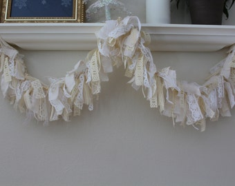 Lace and fabric garland or bunting