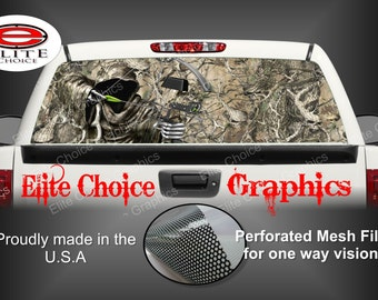 Bow Reaper Obliteration Skull Camo Rear Window Graphic Tint Decal Sticker Truck SUV Van Car