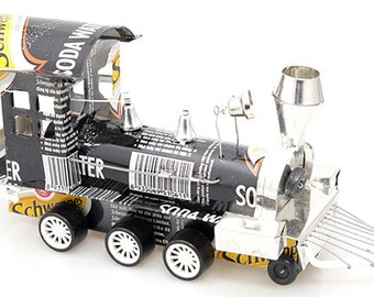 Recycled Tin Can Train (Pepsi, Coca Cola, Diet Coke, Schweppes, Heineken, Tiger Beer) Soda can / Pop can