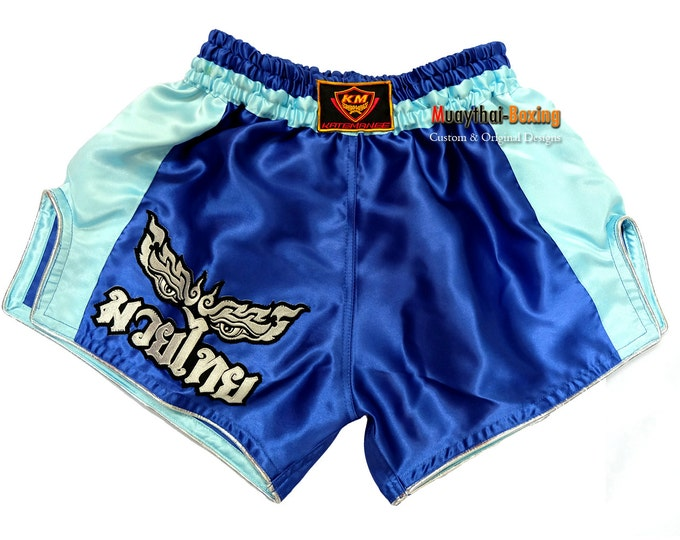 Katemanee Muay Thai Boxing Shorts Low-Waist Fit Retro Style - BLUE