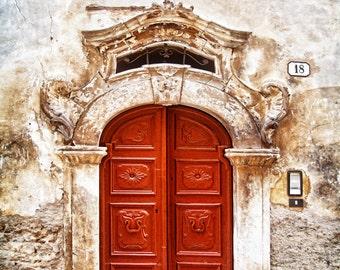Doors Of Italy, Scanno,  Old Door Photo, Red Door Print, Scanno Door, Distressed Door Art, Textured Door Wall Decor, Fine Art Photograph