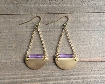 Boho purple & gold half circle earrings