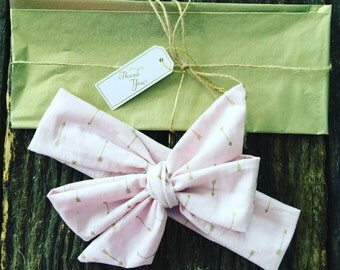 Pink Gold Arrow Headwrap Headband Bow