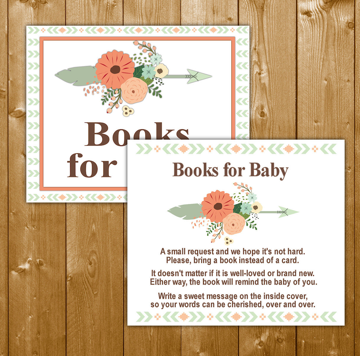 tribal baby shower books for baby invitation insert boy baby