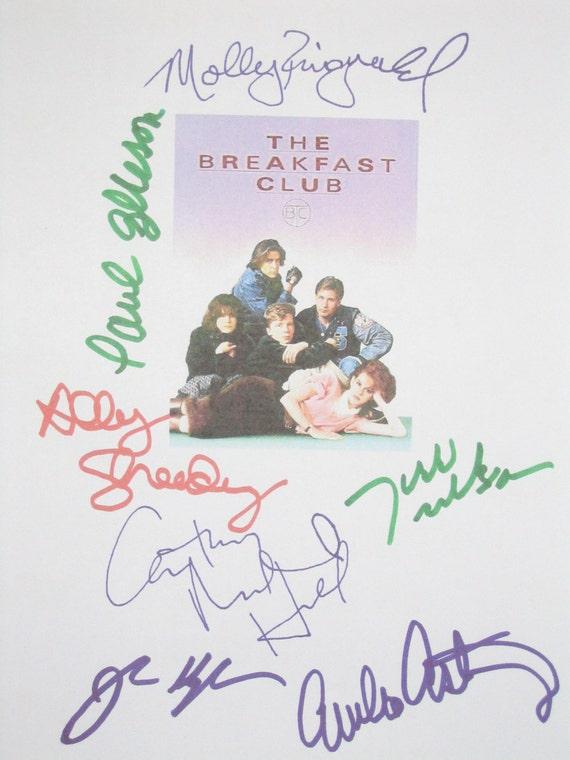 The Breakfast Club Signed Film Movie Script Screenplay X7 Autographs Emilo Estevez John Hughes Ally Sheedy Anthony Michael Hall Judd Nelson