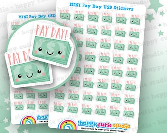 48 Cute MINI Pay Day/Payday USD Planner Stickers, Filofax, Erin Condren, Happy Planner,  Kawaii, Cute Sticker, UK