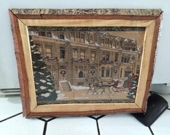 Rustic Wood Framed Sleigh Ride Winter Scene