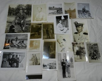 """Vintage WWII military photos - 71 total - Photographs range in size from about 1.5"""" X 1.75"""" to 3.5"""" X 5"""" - World War 2 Military Life     4-9"""