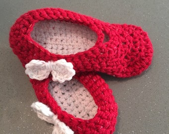 Crocheted Red Mary Jane style slippers