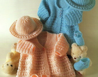 Matinee coats, Hat and Shoes Knitting Pattern. PDF Instant Download.