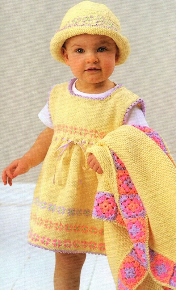 Knitting Pattern Baby Sun Hat : Baby Girls Party Dress Sun Hat And Blanket Crochet