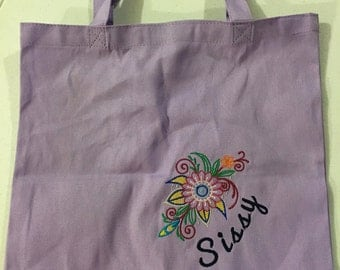 Colorful, personalized embroidered tote - made to order