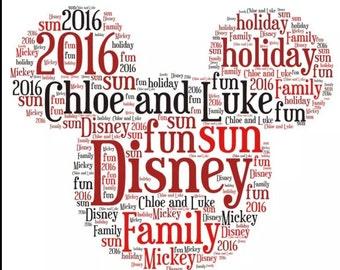 Personalised ~ Mickey Mouse head ~ Word Art ~ Print~ A4~ Keepsake~ Disney
