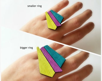 Geometric ring -  Bright ring - Summer ring - Colorful ring - Statement ring - Large ring - Polymer clay ring - Big ring