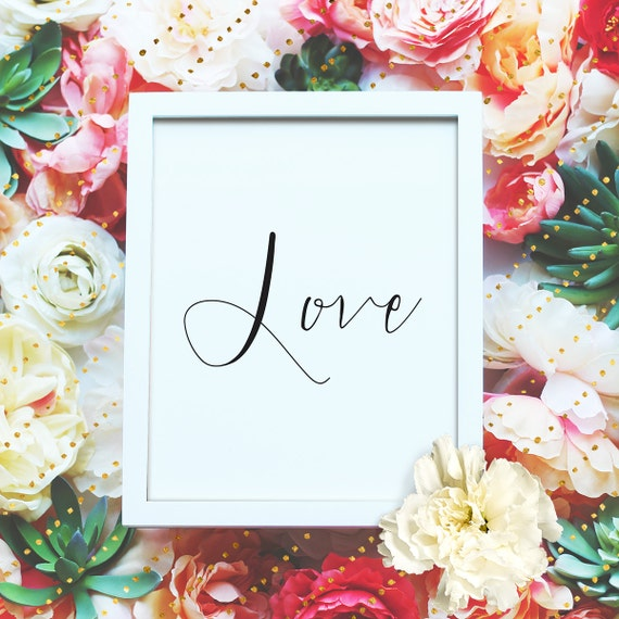 """Love - 8x10"""" Valentines Love Poster - Love Printable Wall Art- Valentines Gift Print - Love Typographic -Instant Download"""