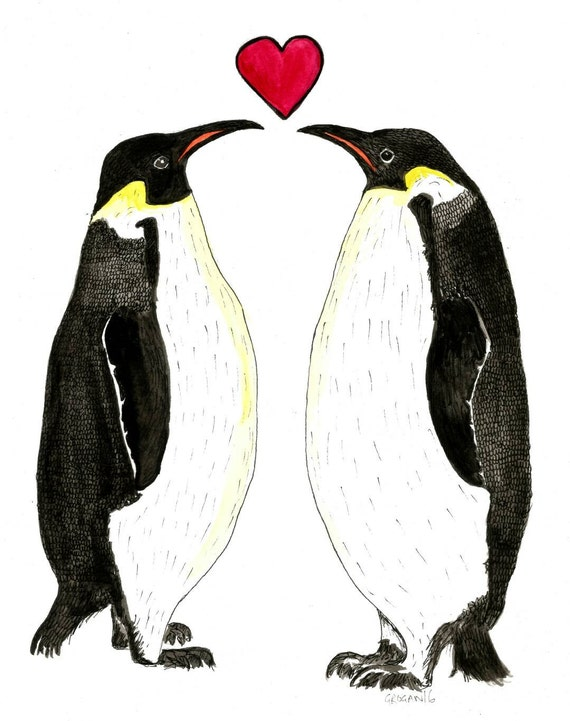 Penguins in love cute original water colour and ink