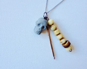 Tiny Concrete Skull Charm and Wooden Bead Necklace, concrete jewelry, handmade unique design, great gift idea