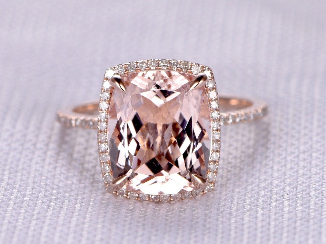 10x12mm Cushion Big Pink Morganite Engagement Ring14k Rose