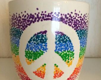 Peace sign upcycled mug