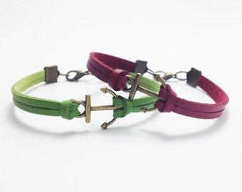 2 Anchor bracelet Bronze Anchor Leather bracelet Friendship bracelet Girlfriend bracelet Birthday gift