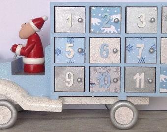 Wooden Advent Calendar, Advent Calendar, Countdown to Christmas, Santa, Elf, Present Truck, Decoration Keepsake, Personalised, Centre Piece