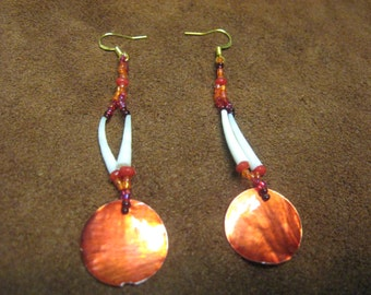 Dentalium shell and painted shell earrings
