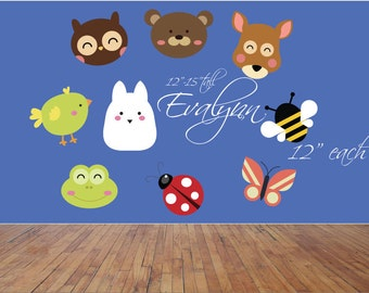 Cute animal wall decals, Cute baby wall decals, Cute girl's room decal, Baby animal decals, Nursery decals, Baby room stickers, Personalized
