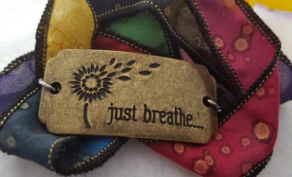 JUST BREATHE Charm Bracelet, Fitness CrossFit Gift, Encouragement, Hand-Dyed Silk Wrist Wrap, Motivational Inspirational Sports Jewelry