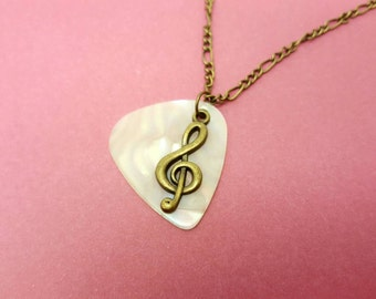 'Music' bronze chain with plectrum and note key chain