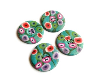4 buttons round flowers pop fimo polymer clay