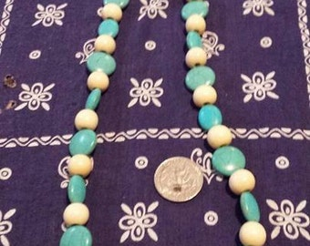 Turquoise and Wood Necklace