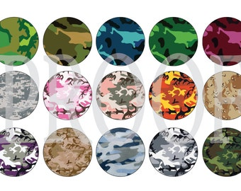 Digital Bottle Cap Image Sheet - Camo - 1 Inch Digital Collage - Instant Download