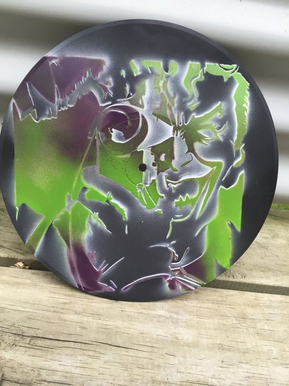 Wall art abstract Spray painted stencil on vinyl record ...