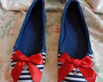 sailor girl flats with anchor charm