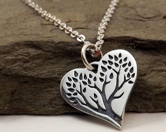 Silver Heart Tree of Life necklace / Tree of Life Heart Pendant / Sterling silver Heart Tree pendant