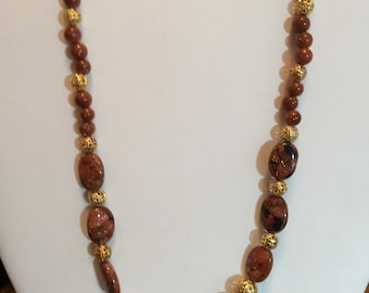 """Goldstone and Gold Colored Filagree  Necklace 21 1/2"""" Long"""