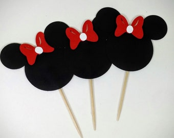 Minnie Mouse Cupcake Topper, Set of 12, Minnie Mouse, Cupcake Topper, Minnie Mouse Decorations