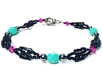 Turquoise, Fuchsia & Black Thin Beaded Bracelet