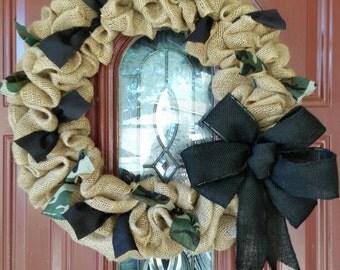 Natural, camouflage & black burlap wreath