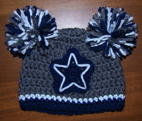 Dallas Cowboys Crochet Baby Hat Pattern : Dallas Cowboys Two Pom Pom Hat 0-3 months / Handmade Crochet