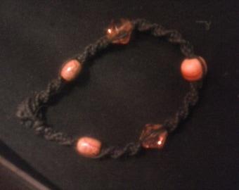 black hemp beaded bracelet