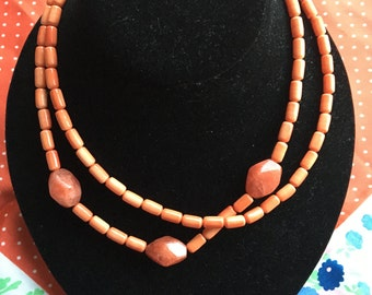 Salmon Pink Dual Strand Necklace
