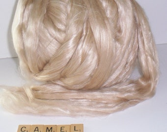 Baby Camel and Silk Blend Roving, Spinning, Felting